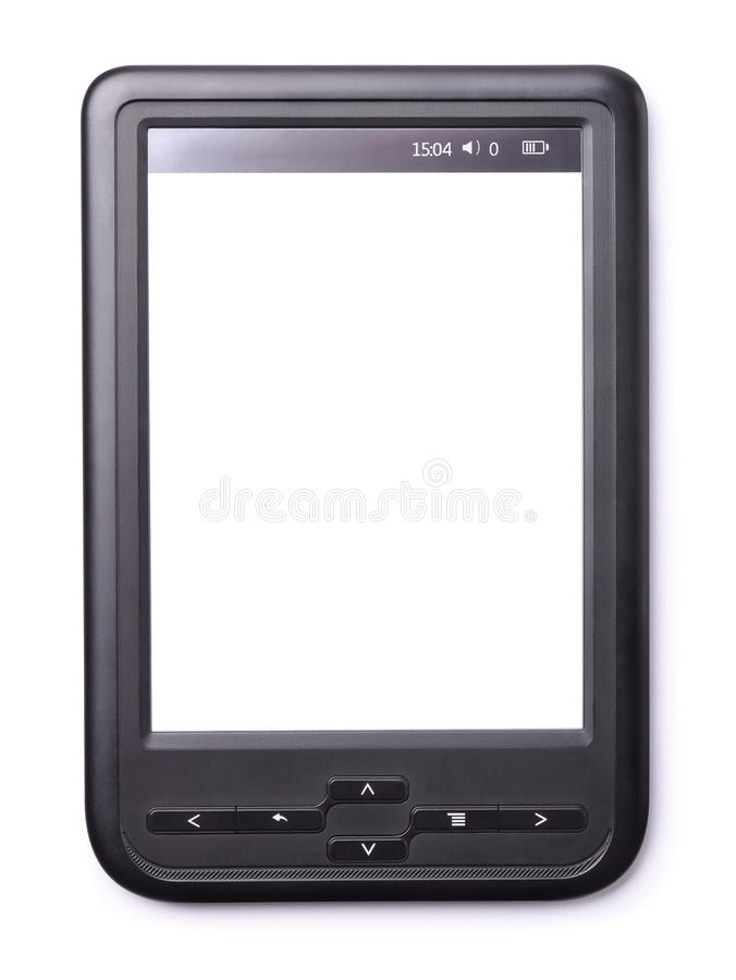 E-book reader. With a blank screen isolated on white royalty free stock photography