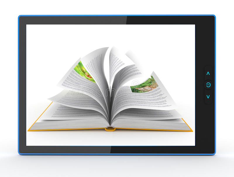 Download E-book Reader. Books And Tablet Pc. 3d Stock Illustration - Image: 26373590