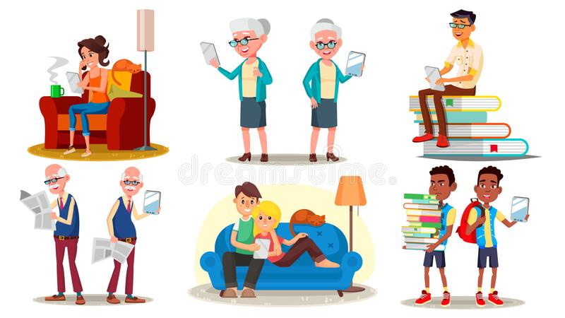 E-Book Reader Concept. Vector. E-Learning. Alternative Device. People Reading With An E-book. Mobile Library. Digital. Tablet. Traditional Textbook VS Ebook stock illustration