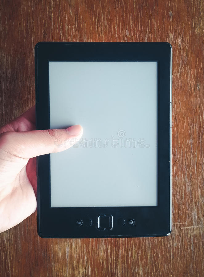 E-book reader electronic blank page in vintage color tone royalty free stock photo
