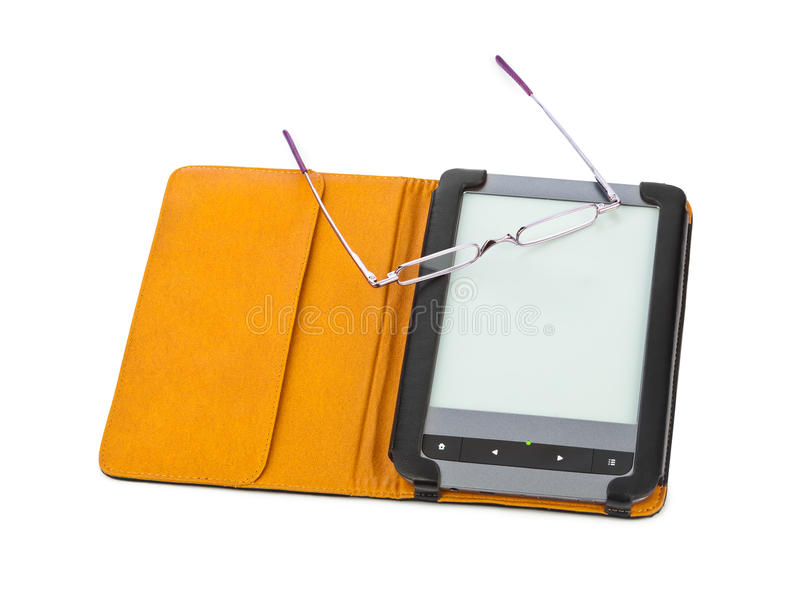 E-book reader and glasses royalty free stock images