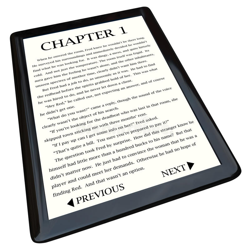 Download E-Book Reader With Novel On Screen Stock Illustration - Image: 16620645