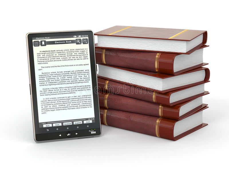 Download E-book Reader And  Stack Of Books. 3d Stock Photography - Image: 23772852