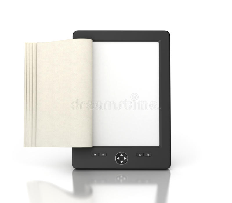 e-book reader tablet with empty pages royalty free stock photos