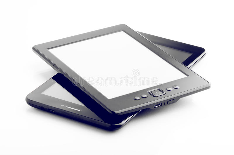 E Book Reader And Tablet Isolated On White royalty free stock photos