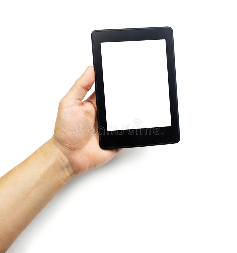 E-book reader or tablet pc in hand. Isolated on white royalty free stock photo