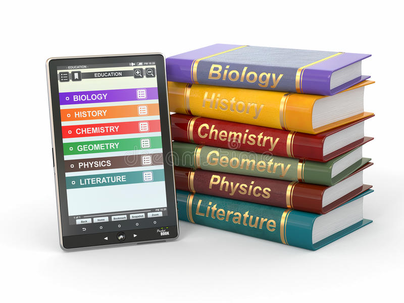 E-book reader. Textbooks and tablet pc. royalty free illustration