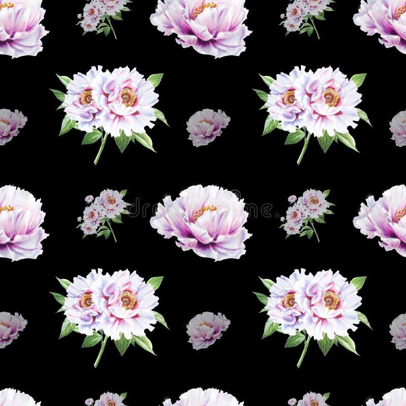 E Bouquet des fleurs Texture florale Dessin de marqueur illustration stock