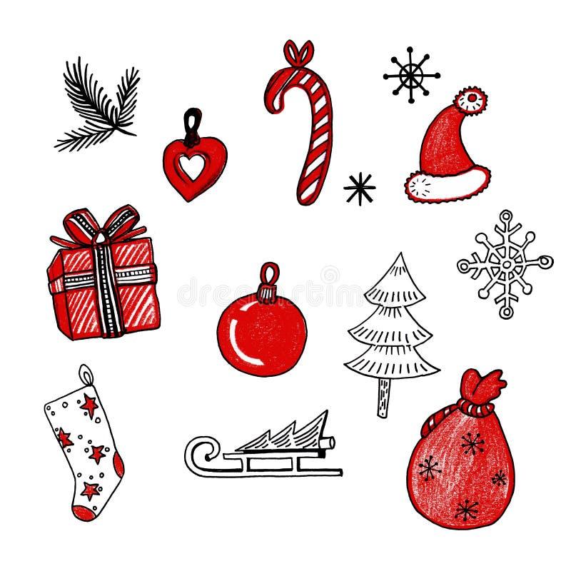 E Branche, traîneau, chaussette, sac, jouets, chapeau, arbre, flocons de neige, cadeau sur le fond blanc illustration libre de droits