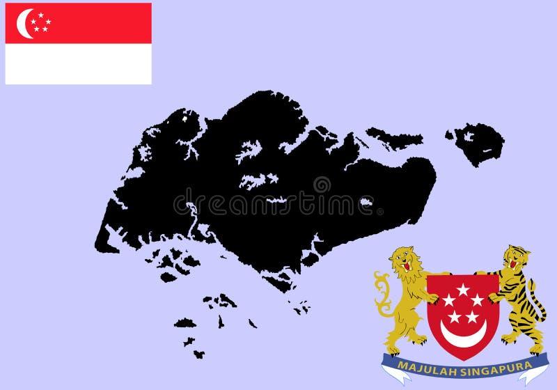 E Brasão de Singapura, símbolo nacional, emblema ilustração stock