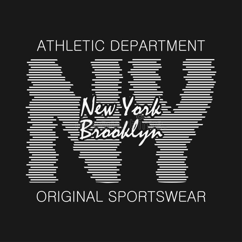 E Brooklyn tryck för t-skjortan, design av idrotts- kläder Stämpel för sportoriginaldräkt vektor vektor illustrationer