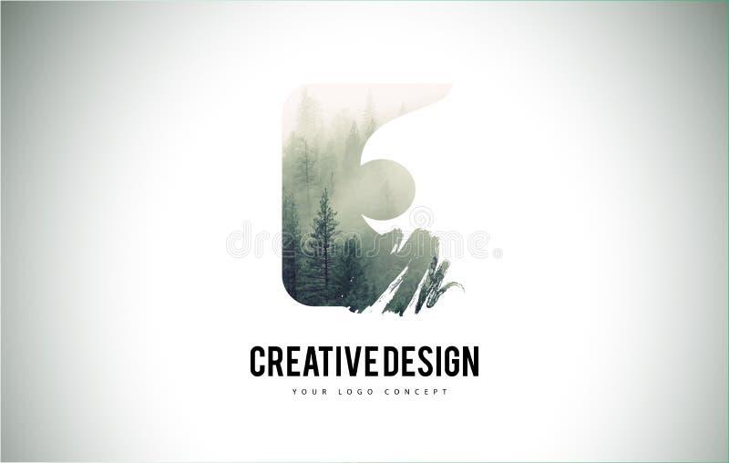 E-Buchstabe-Bürste mit Forest Fog Texture Forest Trees Letter Logo lizenzfreie abbildung