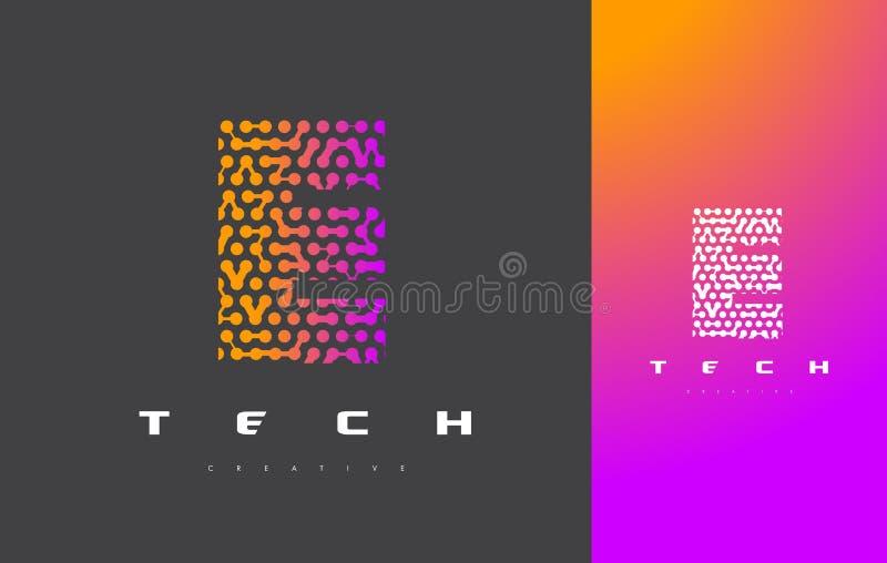 E-Buchstabe Logo Technology Verbundener Dots Letter Design Vector lizenzfreie abbildung