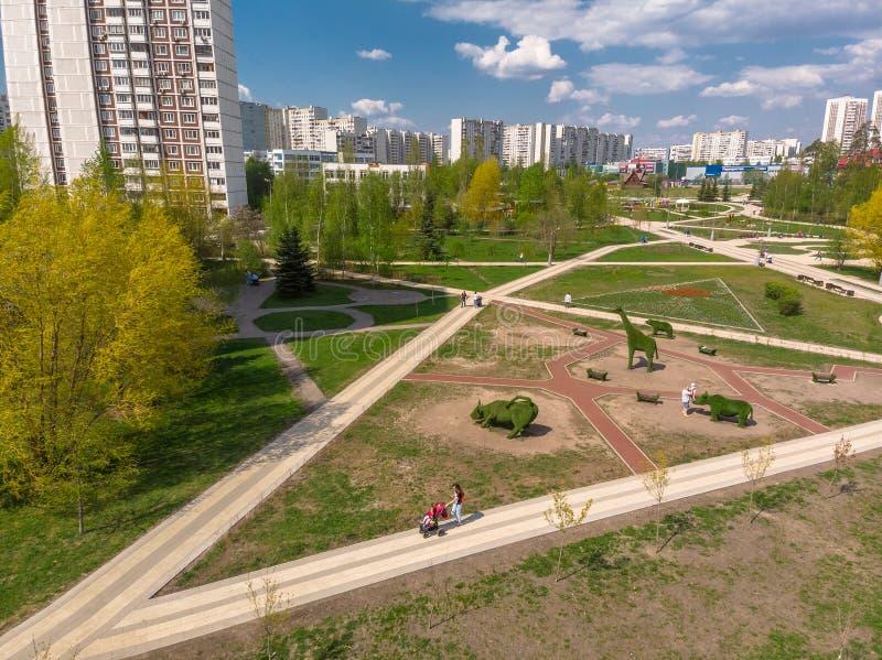 E 2019 Bulevar 16 no distrito Zelenograd ap?s a reconstru??o imagem de stock royalty free