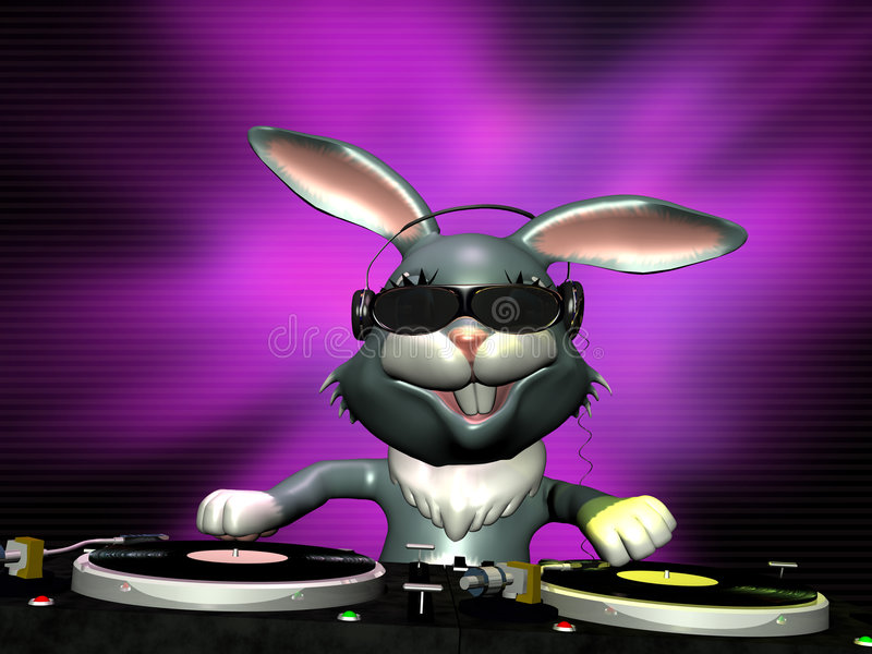 E Bunny Spinning Some Vinyl royalty free illustration