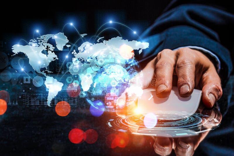 E-business en voorzien van een netwerkconcept stock fotografie