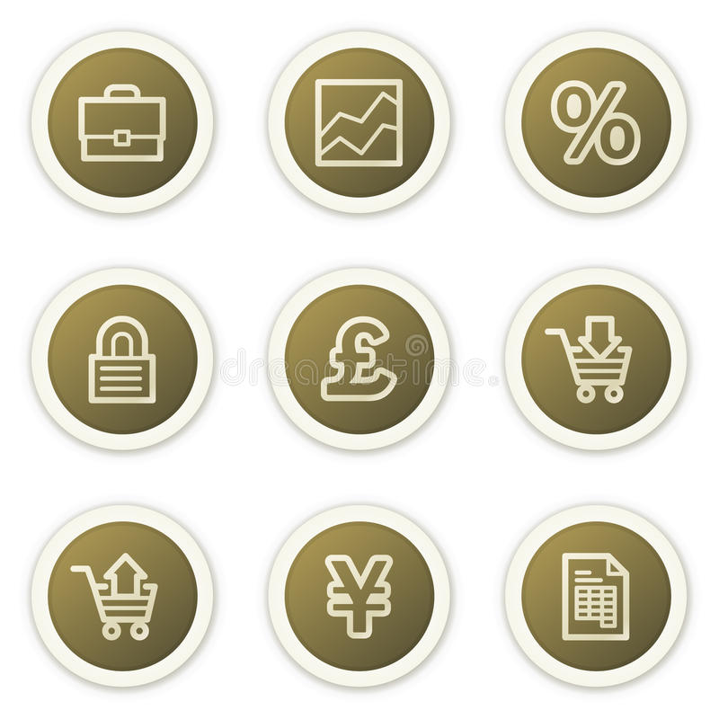 Download E-business Web Icons,  Brown Circle Buttons Series Stock Vector - Illustration: 12947379