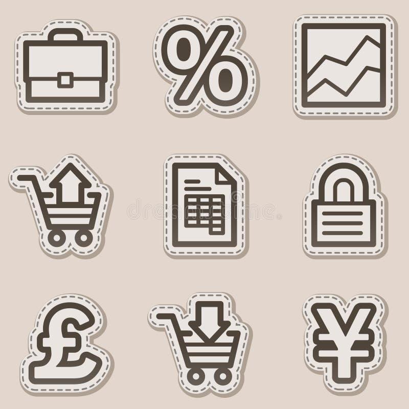 E-business Web Icons, Brown Contour Sticker Series Stock Photo