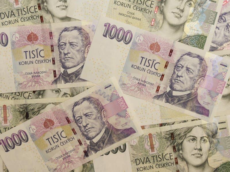 1000 e 2000 cédulas checas da coroa imagem de stock royalty free