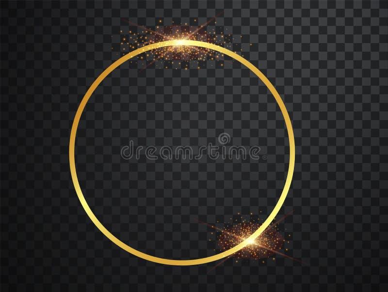E C?rculo m?gico Feliz Navidad Marco brillante del oro redondo con explosiones ligeras oro stock de ilustración