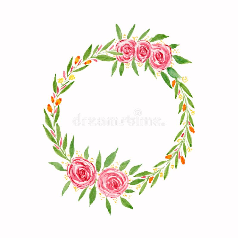 E Cadre floral d'aquarelle illustration stock