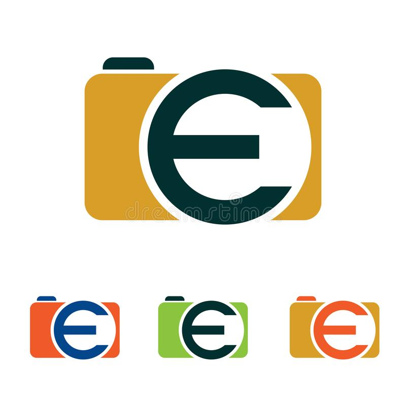 E Camera Simple Picture Photography Logo Icon royalty free illustration
