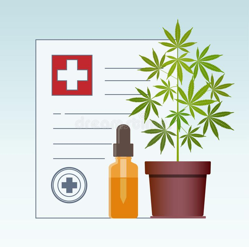 E Cannabisolja Medicinsk marijuana i sjukvård ett recept för medicinsk marijuana vektor illustrationer