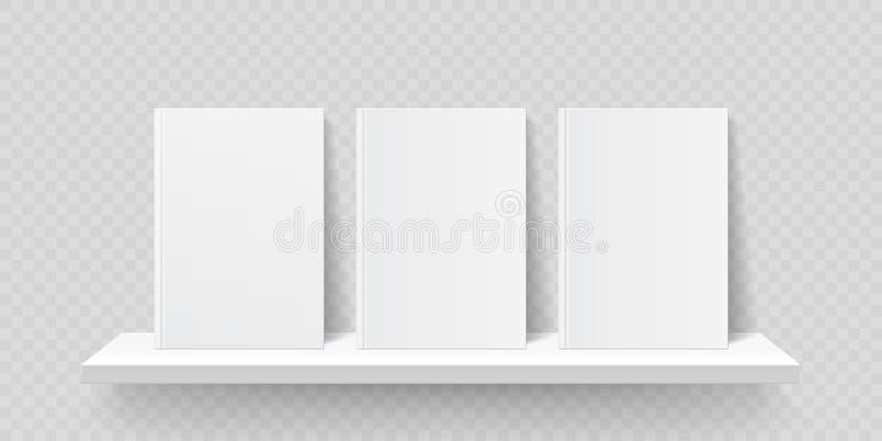 E Capas do livro da placa da parede da estante do vetor, molde das prateleiras da loja da galeria do folheto ilustração stock