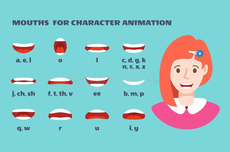E Cara da menina com os bordos que falam a expressão Articulação e sorriso, animação fêmea faladora das bocas com ilustração royalty free