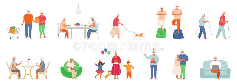 E Caract?res des personnes ?g?es Les personnes ?g?es mangent de la nourriture saine, font le yoga, marchent leur animal familier, illustration stock