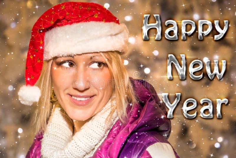 E-cartão dos cumprimentos do ano novo feliz fotografia de stock