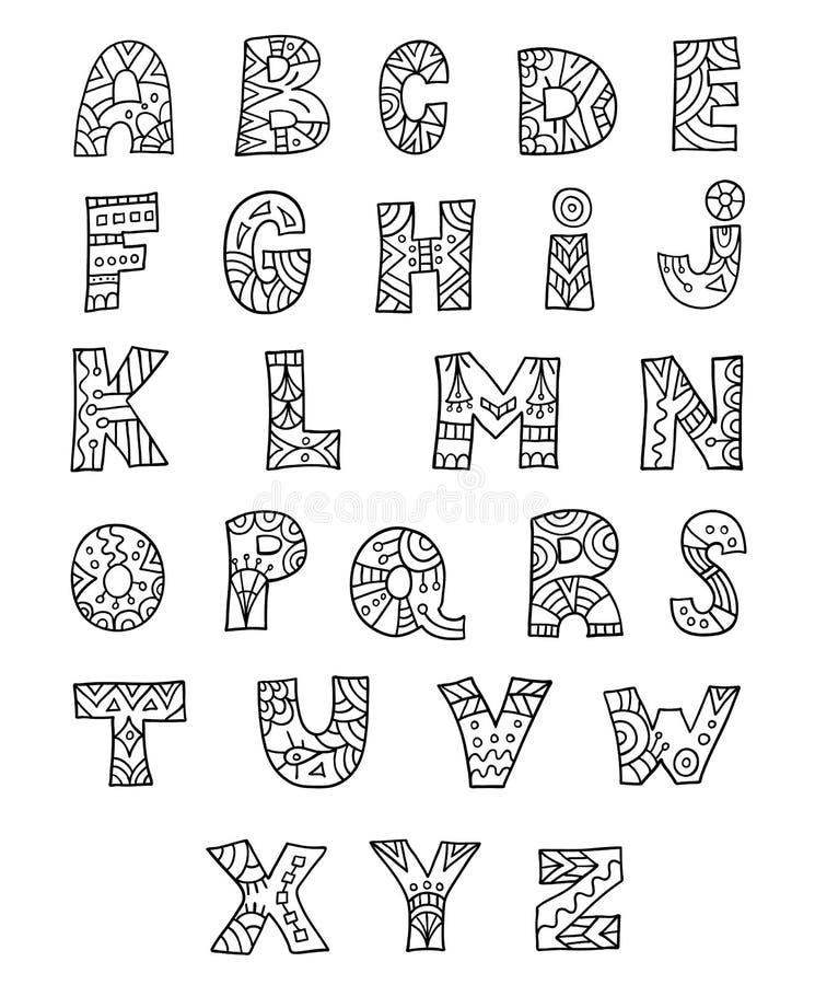 E Cartas a mano Zentangl ilustración del vector