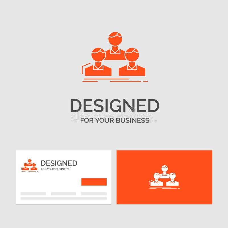E Cartes de visite oranges avec le calibre de logo de marque illustration de vecteur
