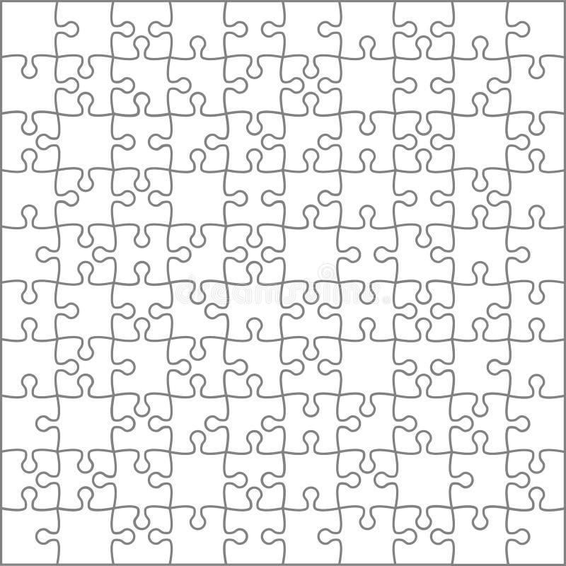 E Casse-tête 100 morceaux, jeu de pensée et conception de cadre de détail des puzzles 10x10 Les affaires assemblent la métaphore illustration de vecteur
