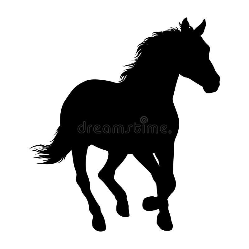 E Cavalo Racing Silhueta isolada ilustração royalty free