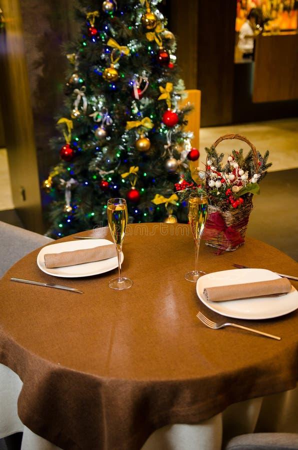 E celebration Ajuste de lugar para o jantar de Natal feriado fotos de stock royalty free