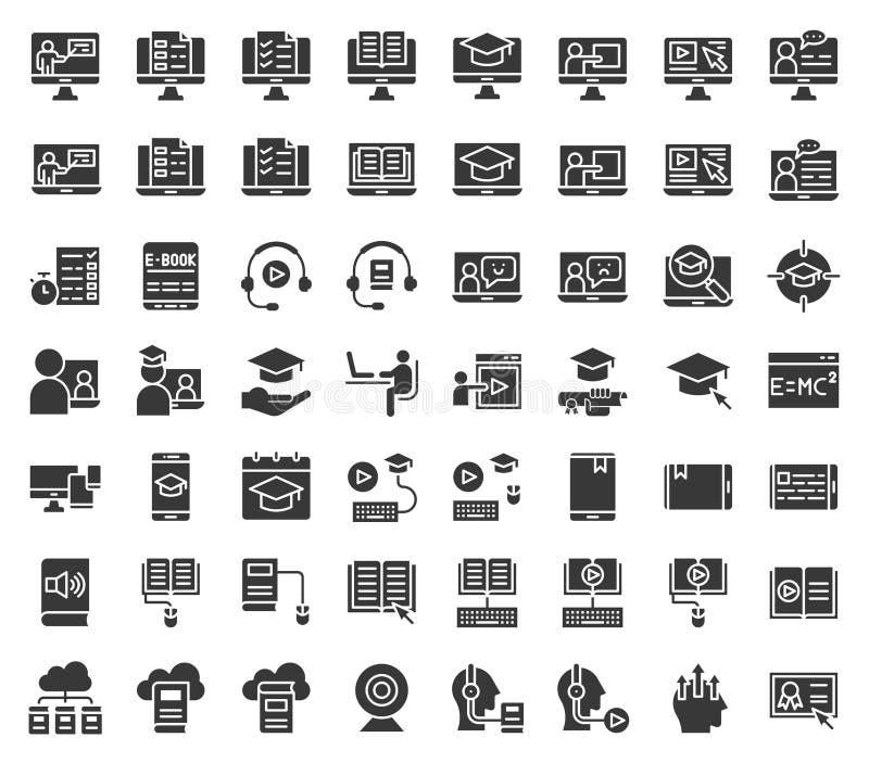 E che impara ed insieme dell'icona, solido o progettazione online istruito di glifo royalty illustrazione gratis