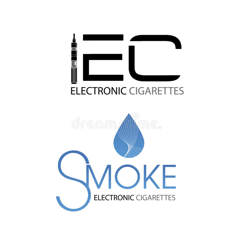 E-cigarett med proppsymboler stock illustrationer