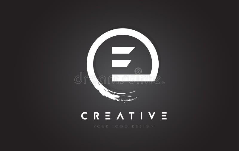 E Circulaireembleem met het Ontwerp van de Cirkelborstel en Zwarte Backgr royalty-vrije illustratie