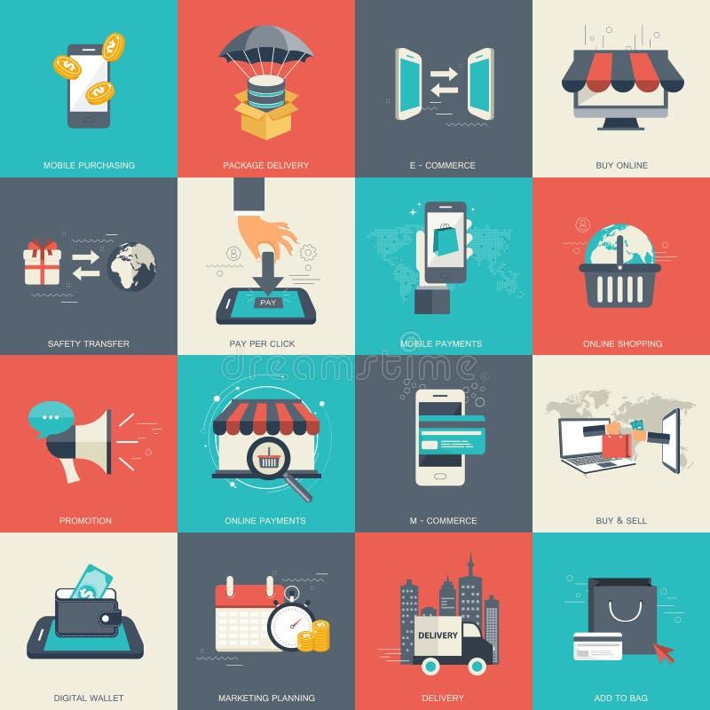 E - comércio e grupo em linha do ícone da compra Vetor liso ilustração do vetor