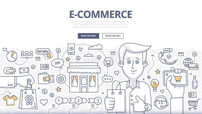 E-comerce Doodle Concept. Doodle design style concept of e-commerce sales, online shopping, digital marketing and customer buying experience. Modern line style vector illustration