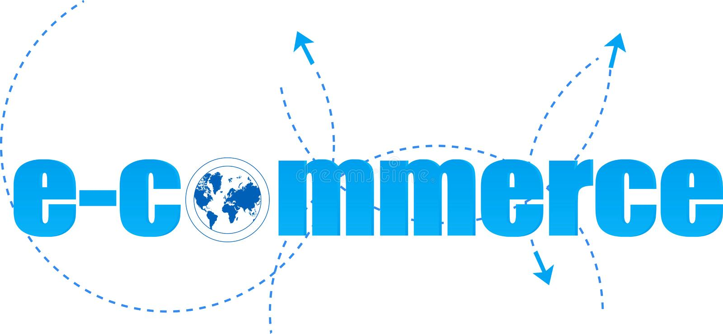 E-commerce. Logo on white royalty free illustration