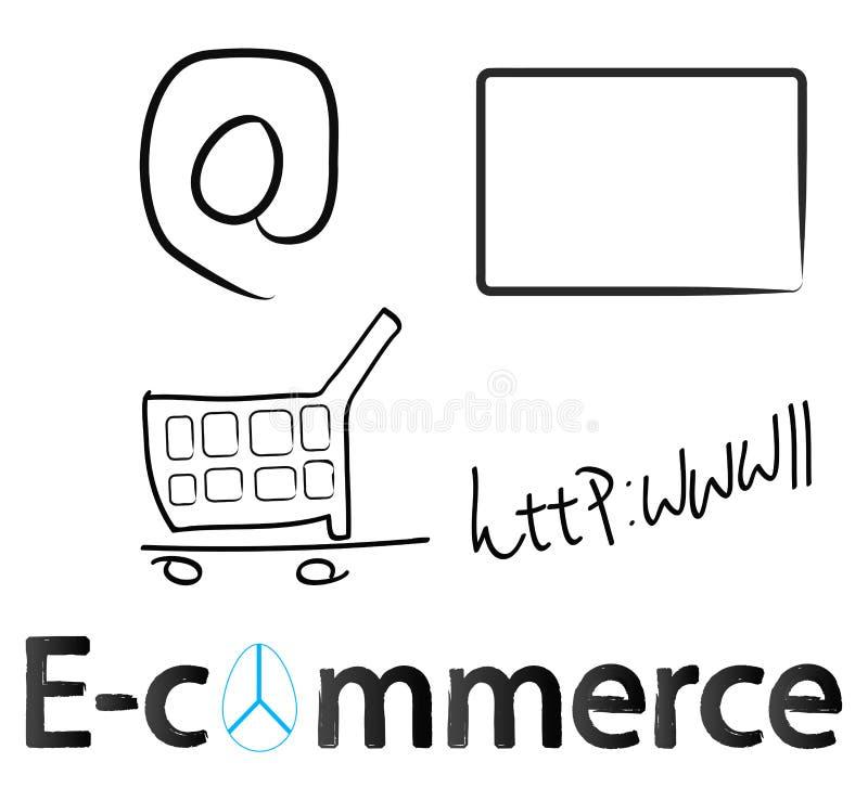 E-commerce. Concept design on white royalty free illustration