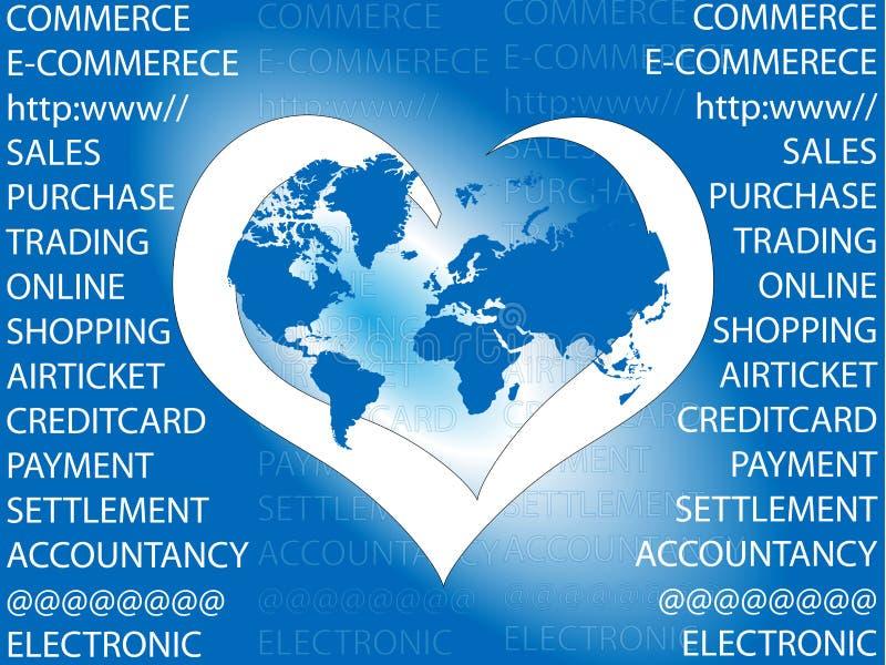 E-commerce. I love e-commerce world stock illustration