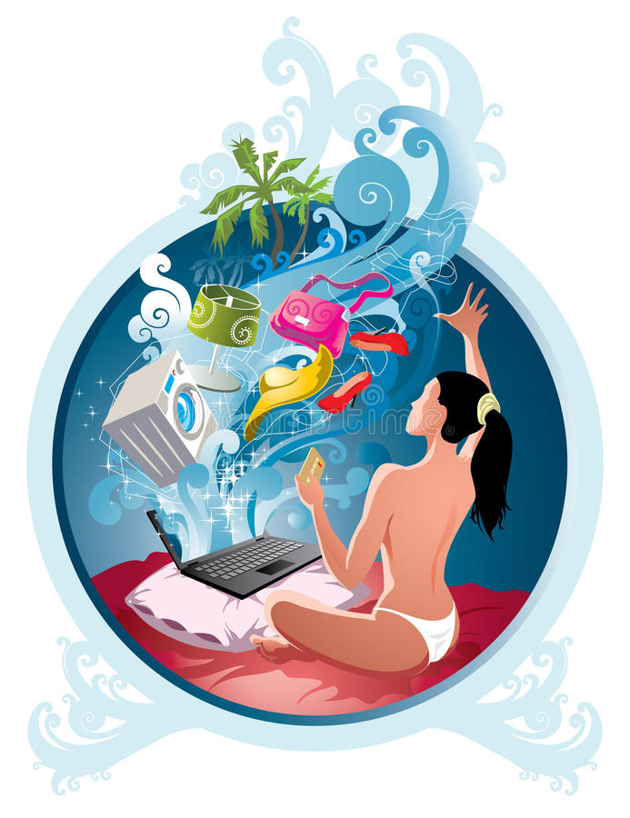 E-commerce. A beauty girl make magic - shopping in internet with credit card