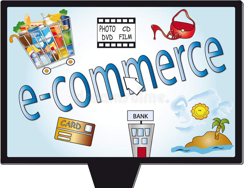 E-commerce. Illustration with some assets that can be purchased on the Internet