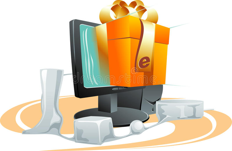 E-commerce. Vector illustration of computer shop online