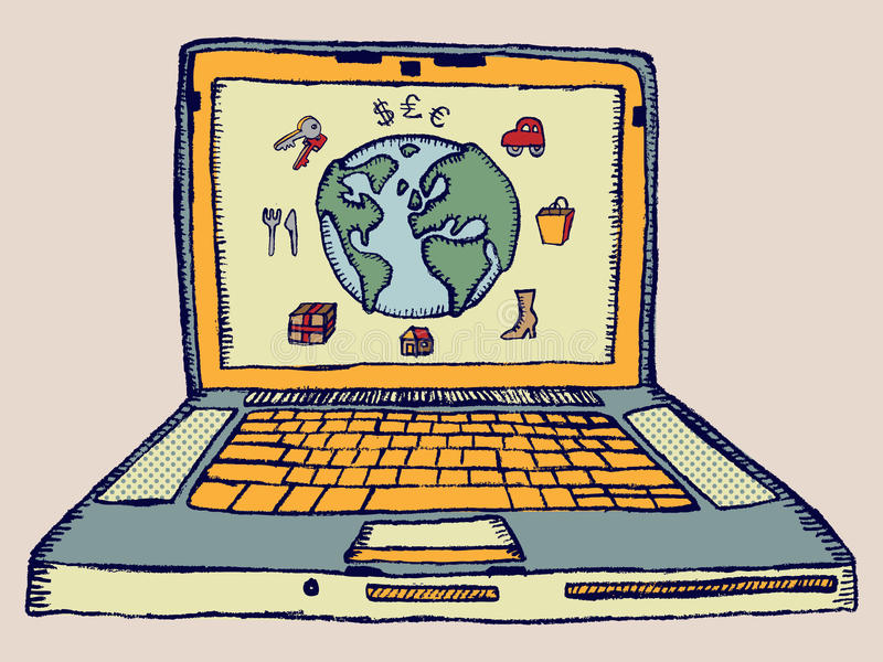 E-Commerce. Hand-drawn doodle of a computer with a globe to symbolize the Internet and the availability of of buying various products and services online