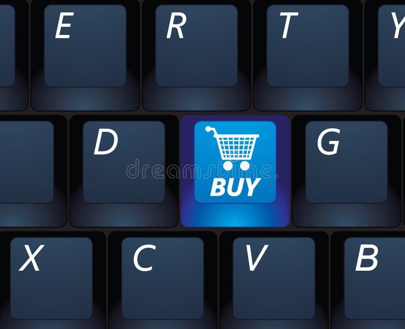 E-commerce. Internet shopping buy key on a black keyboard - e-commerce concept illustration