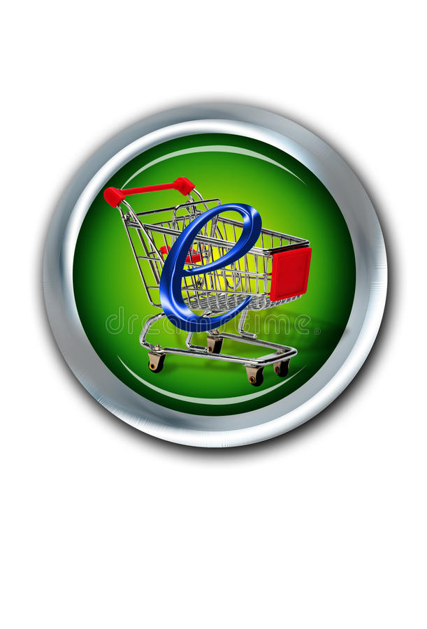 E-Commerce. Button with shopping cart vector illustration